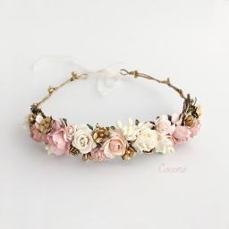 corona de flores oro rosa blanco2