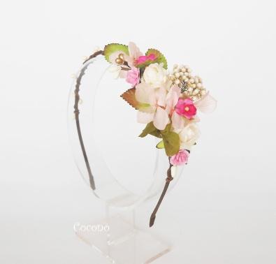 diadema de flores en tonos rosas2