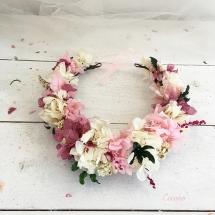 Maxi corona Hortensias rosa