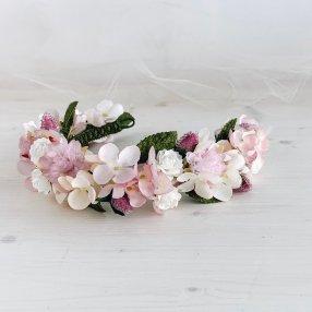 corona rosa de hortensias